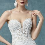Darshana Wedding Dress Maggie Sottero | crepe sheath lace wedding dress