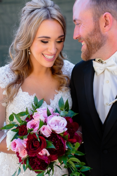 Pink and red bride bouquet